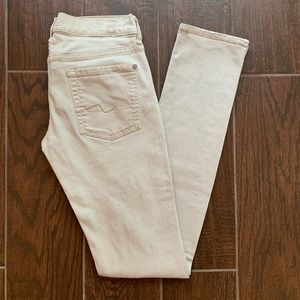 """7 for all Mankind Cream Grey Distressed 32"""" LONG"""